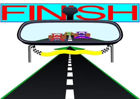 look in mirror: Car mirror and is reflected in it the road and race cars.