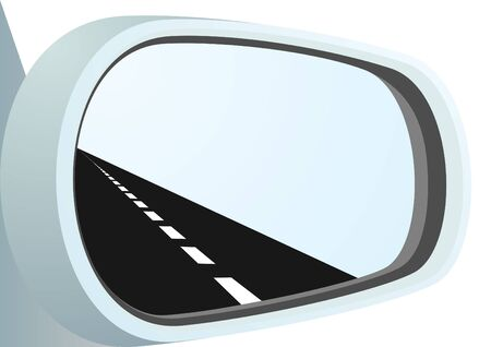 tar: Car mirror and is reflected in it path Illustration