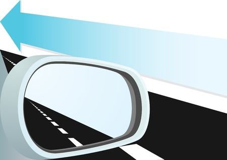 Car mirror and is reflected in it path. Arrow indicates the direction of motion. Vector