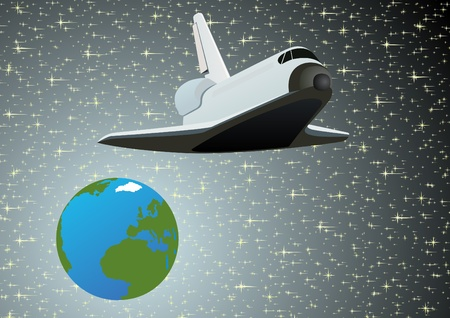 Flying a spacecraft on the background of the earth and the sky Stock Vector - 9702028
