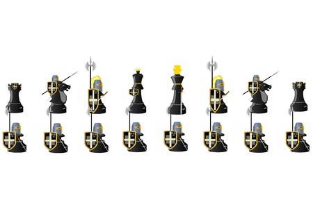 the rook: Chessmen styled medieval knights. Illustration on a white background
