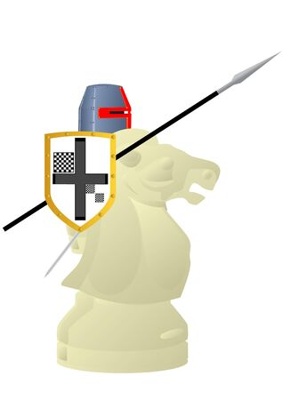 Chessmen styled medieval knights. Illustration on a white background. Stock Vector - 9702058