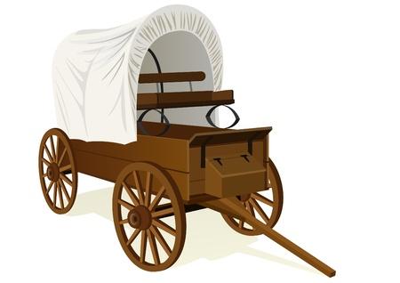 carreta madera: Vintage van para personas de transporte y las cosas. Ilustraci�n sobre un fondo blanco. Vectores
