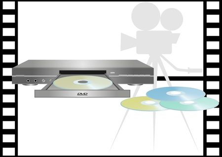 DVD-player on the background film. Vector