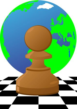 Abstract image of chess pieces on the background of a chessboard and the planet Earth. Vector