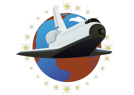 Space shuttle against the backdrop of the planet Earth Illustration