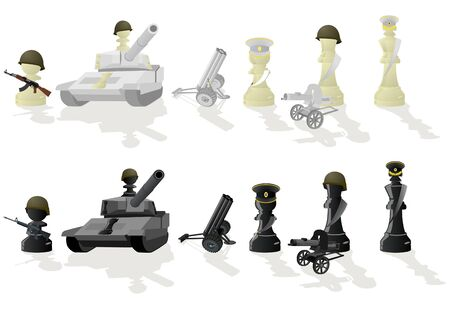 Chessmen styled soldiers and military equipment. Illustration on a white background Vector