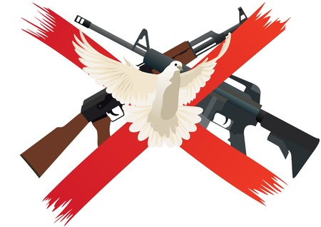 disarmament: Flying white dove on a background of red intersecting lines. The icon means prohibiting the use of weapons and disarmament Illustration