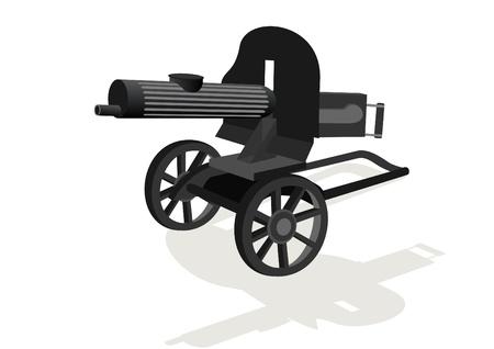 rapid fire: Military equipment. Machine gun on a white background