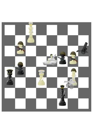 Chessmen styled soldiers and military equipment. Illustration on the background of a chessboard. Vector