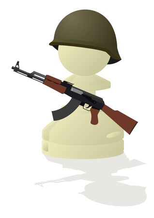 pawn: Military equipment. The modern tank on a white background.