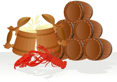 molluscs: Wooden mug of beer and boiled crawfish on the background of wooden barrels.