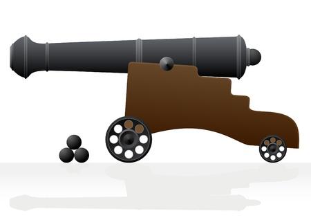 artillery shell: Antiguos ca�ones sobre el transporte de armas y el n�cleo. Ilustraci�n sobre un fondo blanco.