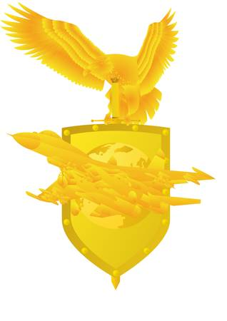 Air Force. Badge with an eagle holding a sword, shield, and military aircraft. Stock Vector - 9819773