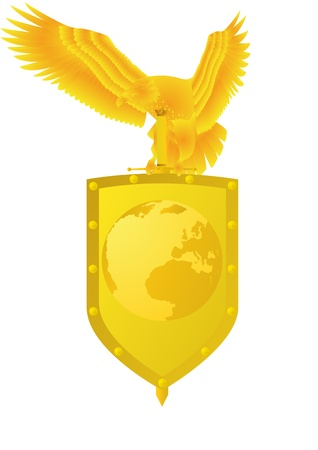 shield and sword: Badge with an eagle holding a sword and shield, which shows the planet Earth. Illustration