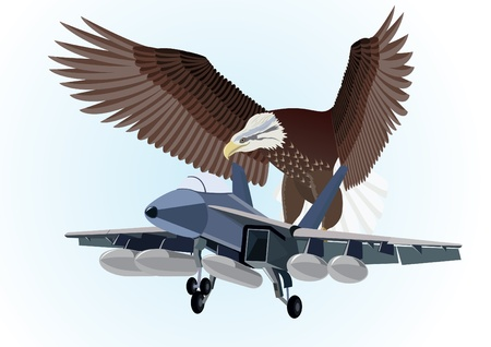 Military aircraft flying in the background of an eagle with outstretched wings Vector