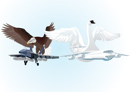 armaments: Military and commercial aircraft against a background of flying eagle and a swan with outstretched wings.