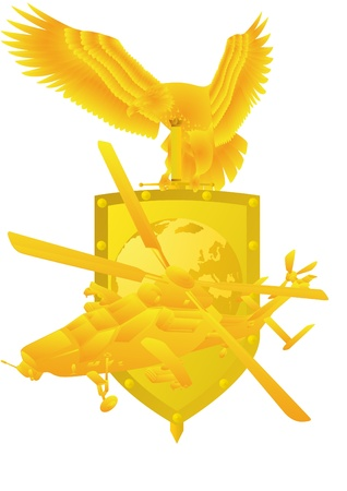 Air Force. Badge with an eagle holding a sword, shield, and military aircraft. Vector