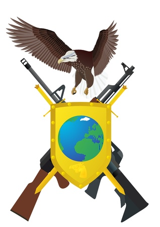 keeps: Flying eagle, shield and sword, for which depicted two swords and modern automatic weapons Illustration