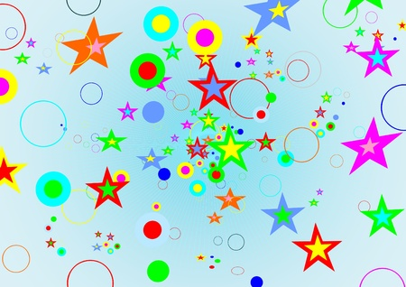 Abstract background of colored stars and circles Stock Vector - 9819865