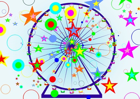 Children's attraction. Carousel at an abstract background of colored stars and circles. Stock Vector - 9819868