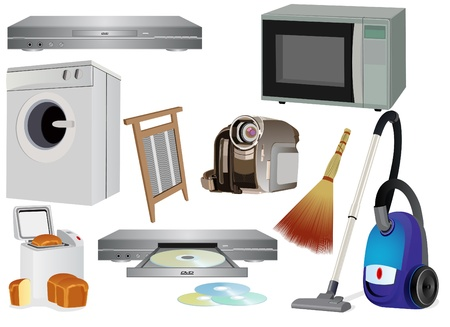 Articles and accessories for the household. The illustration on white background. Vector