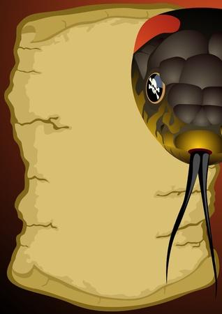 venomous snake: Serpientes venenosas en el fondo de un antiguo pergamino. Vectores