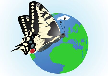Flying butterfly on a globe Vector