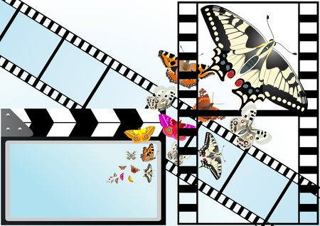 emerge: Movie cracker, used in the process of making a film with a screen from which emerge a butterfly.