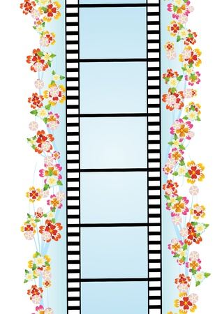 film industry: Film in the frame of summer wildflowers Illustration