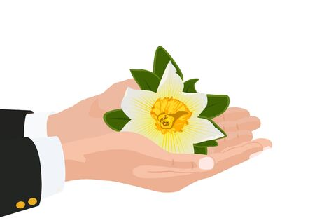 hand holding flower: Persons hand holding a flower.