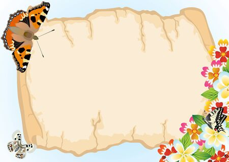 A sheet of paper against the background of flowers and flying butterflies Vector