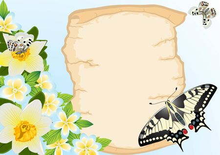 A sheet of paper against the background of flowers and flying butterflies Stock Vector - 9944145
