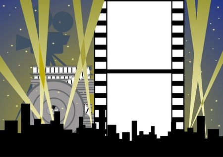 Items and accessories for the shooting of the film against the backdrop of the city at night floodlights. Vector