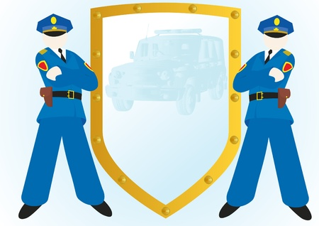 defence: Two police officers standing near the shield with the image of the police car Illustration