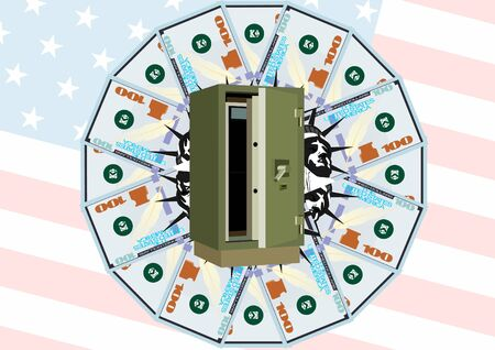 dignity: Safe-deposit box of money and bank notes on the background of the USA flag Illustration