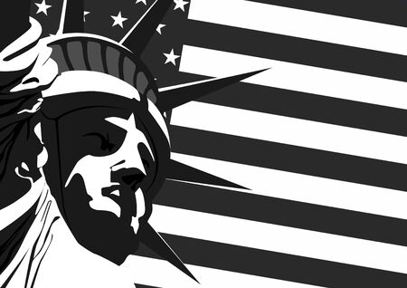 statua: Fragment of Statue of Liberty against the U.S. flag. Ilustracja