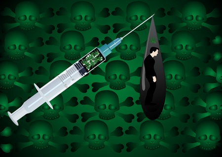The green background of skulls and bones. Medical syringe with a drug and drop narcotic potions, inside of which depicts a man uses drugs