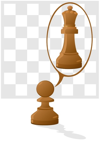 pawn: Against the background of a chessboard pawn is in the dreams of a queen Illustration