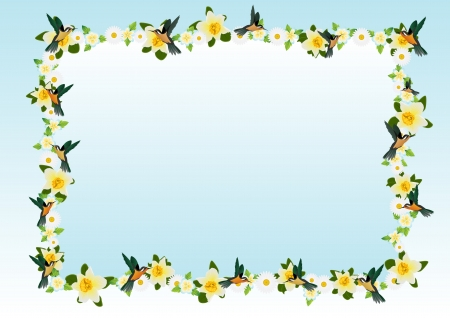 flora fauna: The background of the flowers and flying around them small birds Illustration