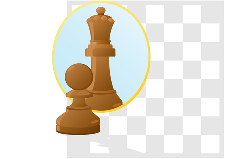Against the background of a chessboard pawn looks in the mirror and sees himself as the Queen