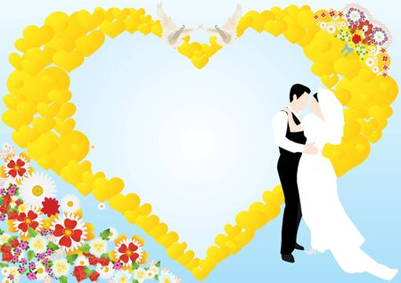 On a blue background depicts an abstract heart, flowers, two white doves and the bride and groom Illustration