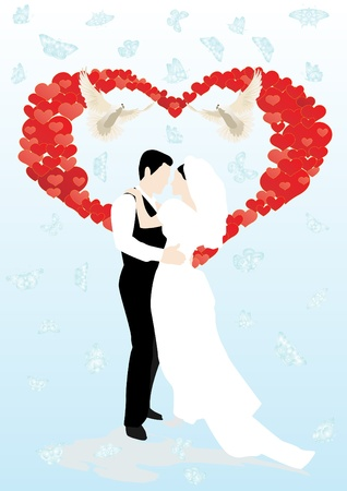 Against the background of flying butterflies depicted an abstract heart, two white doves and the bride and groom Vector