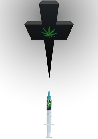 hemp: Medical syringe with drugs and grave cross with an image of the leaves of hemp