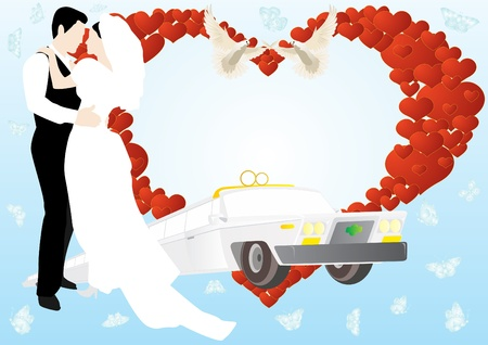 Newlyweds on a background of abstract images of the heart, two white swans, and the old wedding limousine. Vector