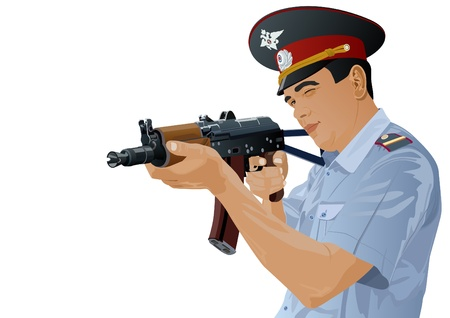 holding gun to head: The illustration on military issues. A man in uniform ready to fire from automatic weapons