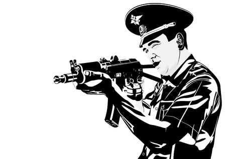 death head holding: The illustration on military issues. A man in uniform ready to fire from automatic weapons