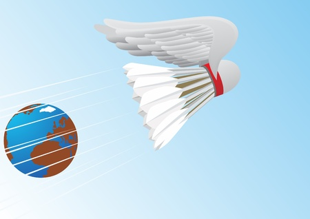 Flying badminton shuttlecock with abstract wings against the background of the Earth