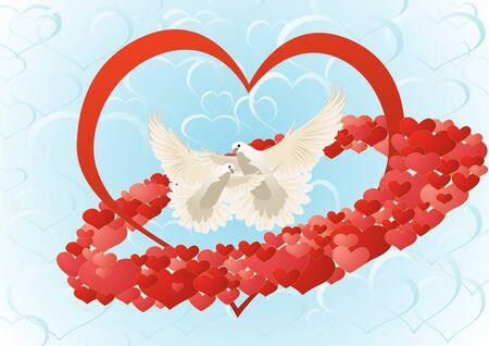 multitude: Dos palomas blancas volar en el fondo del coraz�n rodeado por una multitud de corazones