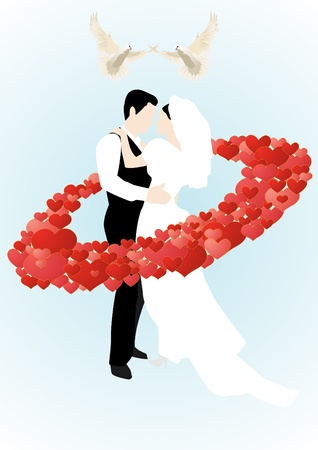 Two white doves flying over the newly-married couple who stand in a circle of abstract hearts Vector